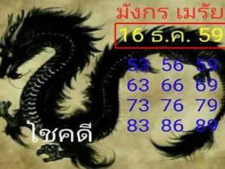 หวยมังกรเมรัย16/12/2559