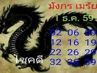 หวยมังกรเมรัย1/12/2559 – เลขเด็ดหวยซอง