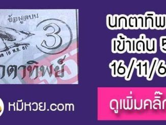 หวยซองนกตาทิพย์ 16/11/61