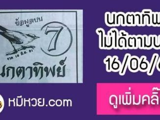 หวยซองนกตาทิพย์ 16/6/61