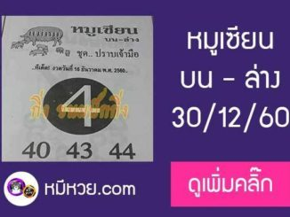 หวยซอง หมูเซียน 30/12/60