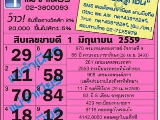 เลขเด็ดงวดนี้ หวยแม่จำเนียร 1 มิถุนายน 59 [สิบเลขเด็ดขายดี]
