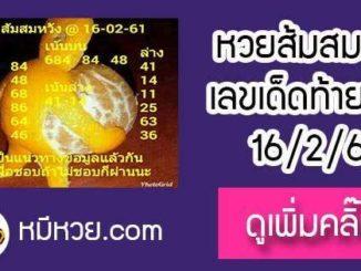เลขเด็ด ส้มสมหวัง16/2/61