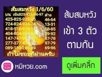 เลขเด็ดส้มสมหวัง1/6/2560 – เข้า3ตัวกลับ