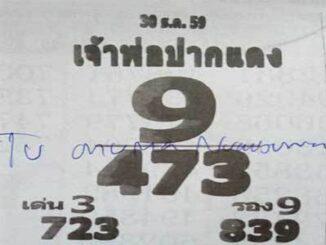 หวยซองเจ้าพ่อปากแดง30/12/2559 เลขเด็ดงวดนี้