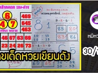 เลขหวยเขียน เลขดังเลขเด็ดโดนใจทุกคนที่ตามหา งวด 30/12/63