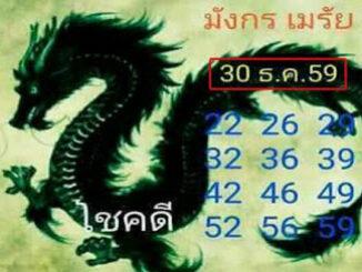 หวยมังกรเมรัย30/12/2559